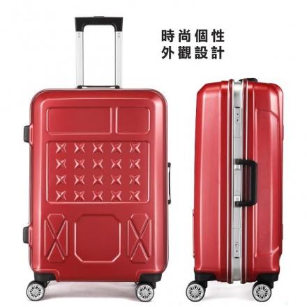 【ABS愛貝斯】24吋 幻像星芒鋁框箱 防刮行李箱(紅色102-010B)