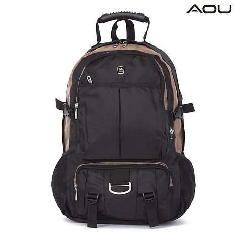 【AOU微笑旅行】台灣扣具 高機能大揹包 電腦後背包(卡其/黑103-008)