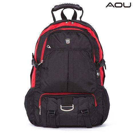 【AOU微笑旅行】台灣扣具 高機能大揹包 電腦後背包(紅/黑103-008)