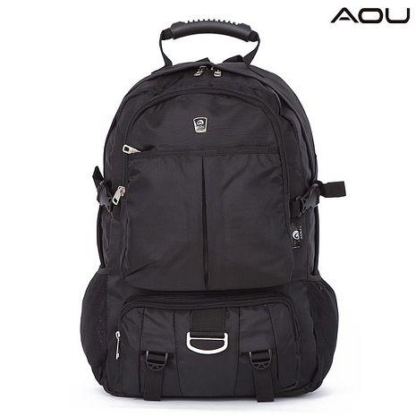 【AOU微笑旅行】台灣扣具 高機能大揹包 電腦後背包(全黑103-008)