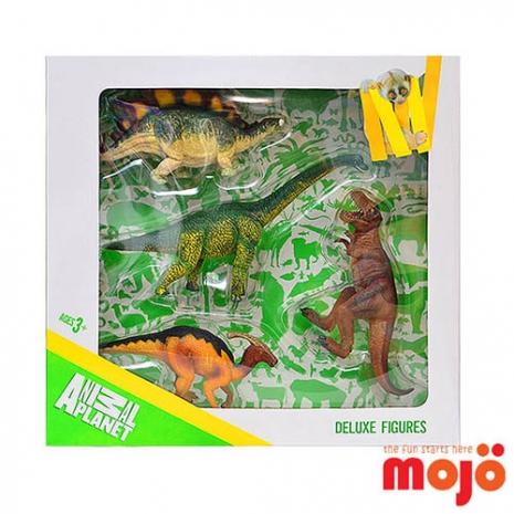 【MOJO FUN 動物模型】精裝禮盒-恐龍動物四件組 暴龍+副龍櫛龍+劍龍+腕龍(387300)