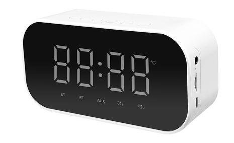 四合一創意智慧型藍牙喇叭 (時鐘鬧鐘、溫度顯示、語音通話、桌上鏡)-高雅白