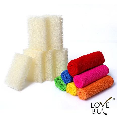 【Love Buy】新一代立體長纖維超吸水去油污神奇抹布-超值12件組(抹布x6/菜瓜布x6)