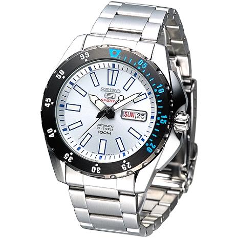 SEIKO 運動風尚5號24石自動機械錶-白/ 黑框(Sale)