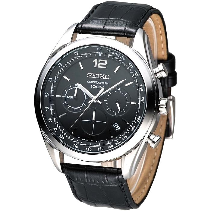 SEIKO 紳士新潮風3眼計時腕錶-黑 SSB097P1