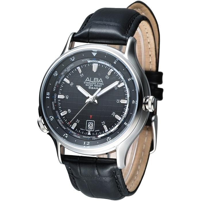 ALBA 優質型男世界時間GMT腕錶(AS9497X1)