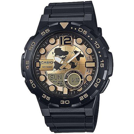 CASIO 赤誠者世界個性地圖雙顯錶(金) AEQ-100BW-9A
