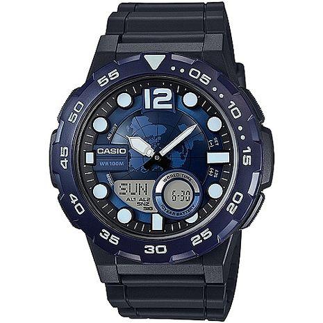 CASIO 赤誠者世界個性地圖雙顯錶(藍) AEQ-100W-2A