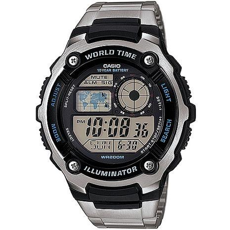 CASIO潛戰世界先鋒運動電子錶(鋼帶) AE-2100WD-1A