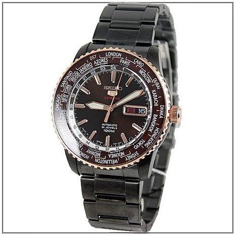 SEIKO 130紀念限量IP黑不鏽鋼機械錶-咖啡色面(SRP132J1)