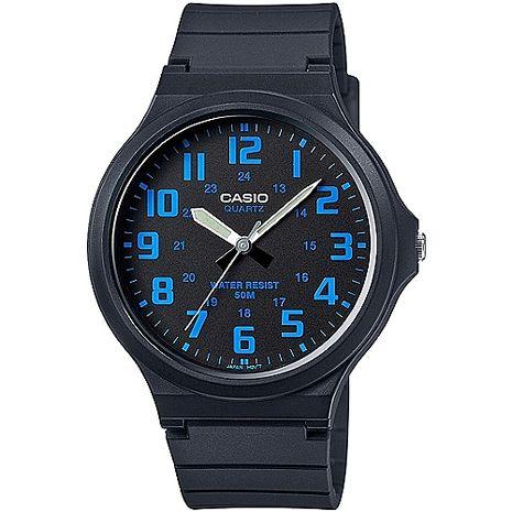 CASIO 時尚玩色輕薄魅力大表面腕錶(黑x藍刻) MW-240-2B