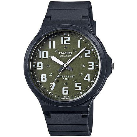 CASIO 時尚玩色輕薄魅力大表面腕錶(綠x白刻) MW-240-3B