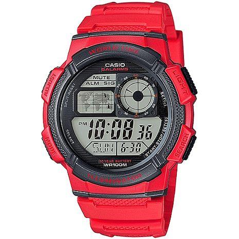 CASIO 雷霆世界戰士運動電子錶(紅) AE-1000W-4A