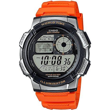 CASIO 雷霆世界戰士運動電子錶(橘) AE-1000W-4B
