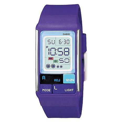 CASIO 新潮流個性亮彩電子錶-紫(LDF-52-6A)
