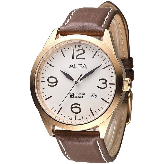 ALBA 紳士時代時尚男錶-玫瑰金框/咖啡(AS9700X1)