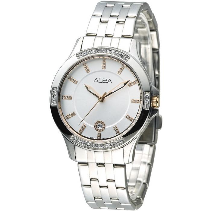 ALBA 晴空浪漫晶鑽女錶-玫瑰金刻(AG8401X1)
