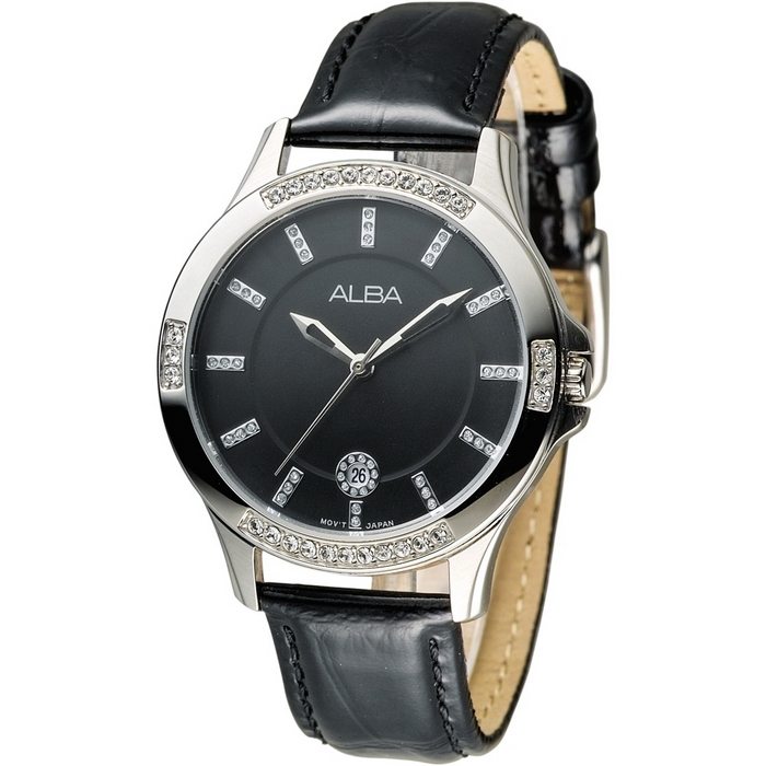 ALBA 浪漫天際晶鑽女錶-黑(AG8409X1)