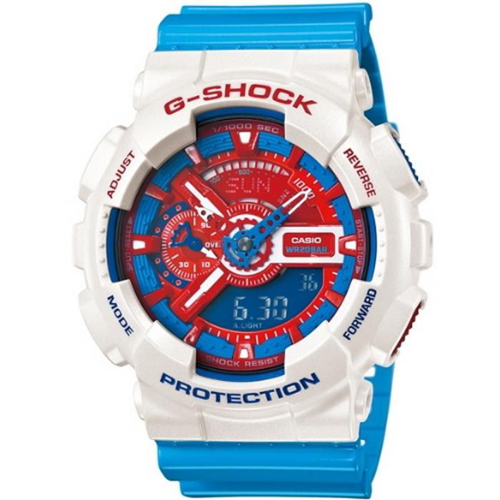 G-SHOCK 新視覺層次雙顯男錶-藍x白x紅 GA-110AC-7A