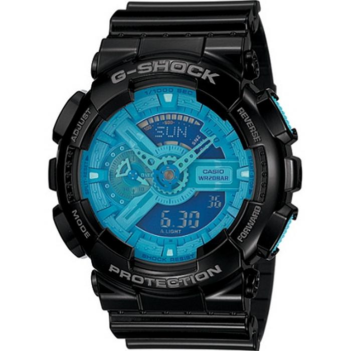 G-SHOCK 炫彩系列復刻版男錶-黑x藍 GA-110B-1A2