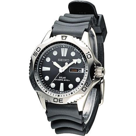 SEIKO SOLAR 深海威龍潛水200M男錶-黑(SNE107P2)-服飾‧鞋包‧內著‧手錶-myfone購物