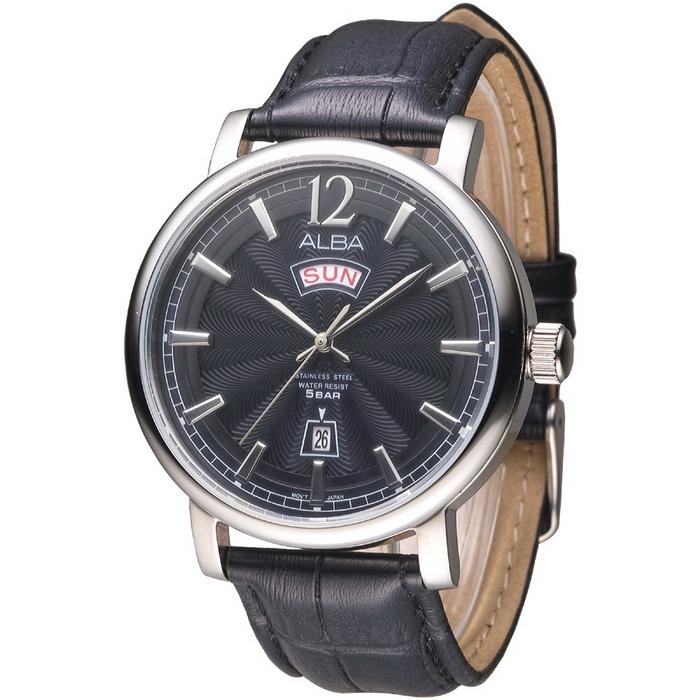 ALBA 神乎其技立體數字刻皮革男錶-黑(AV3185X1)