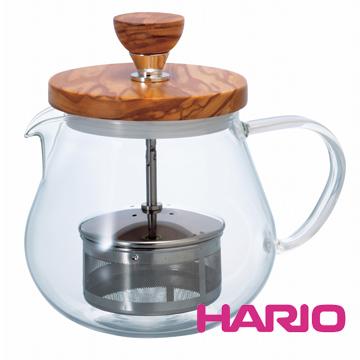 【HARIO】橄欖木濾壓茶壺450ml TEO-45-OV