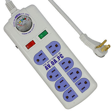附電流表式 3孔8座2切安全延長線 4.5m(TC-696)