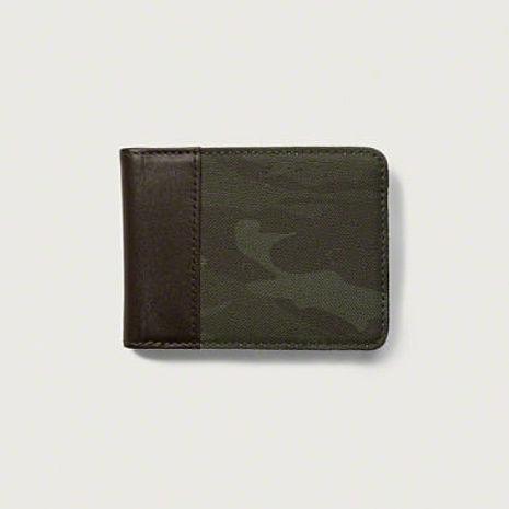 【Abercrombie&Fitch】經典迷彩搭配皮革真皮皮夾-軍綠(617635348)