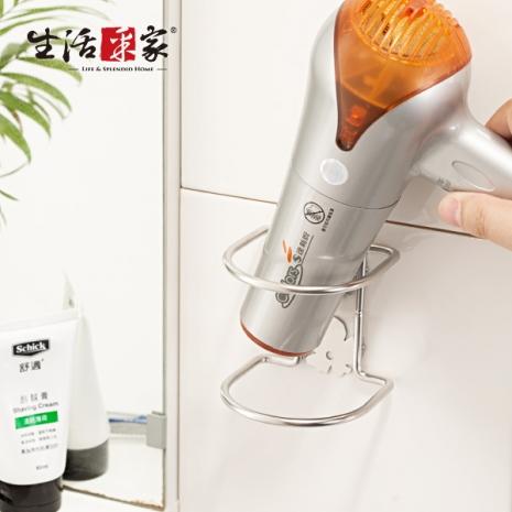 【生活采家】台灣製304不鏽鋼浴室經典雙花吹風機收納架#27041