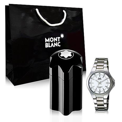 Montblanc Emblem 萬寶龍男性淡香水 60ml+Q&Q日製名錶+隨機品牌紙袋