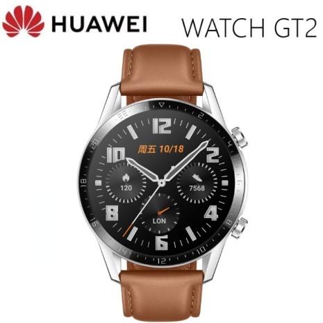 【e即棒】華為Huawei Watch GT2 46mm砂礫棕-真皮錶帶(門號專案)