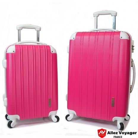 【法國 奧莉薇閣】繽紛系列-彩妝玩色風〝玫紅色〞輕量20+24吋超值二件組行李箱/旅行箱
