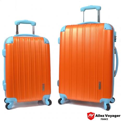 【法國 奧莉薇閣】繽紛系列-彩妝玩色風〝亮橘色〞輕量20+24吋超值二件組行李箱/旅行箱