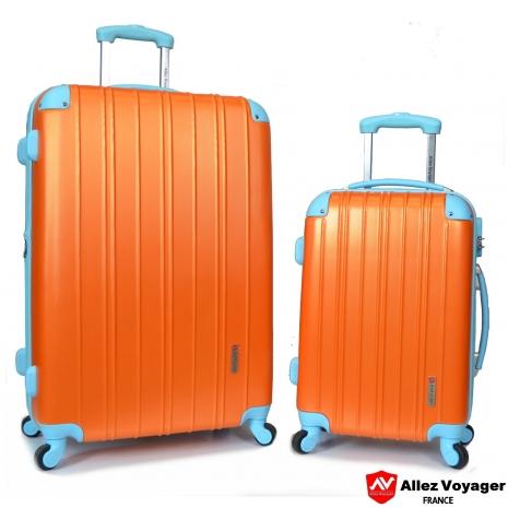 【法國 奧莉薇閣】繽紛系列-彩妝玩色風〝亮橘色〞輕量20+28吋超值二件組行李箱/旅行箱