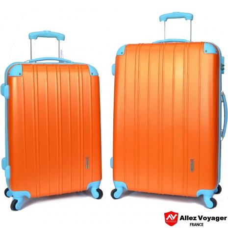 【法國 奧莉薇閣】繽紛系列-彩妝玩色風〝亮橘色〞輕量24+28吋超值二件組行李箱/旅行箱