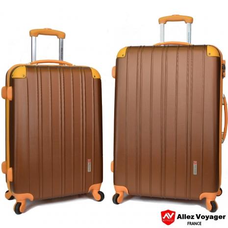 【法國 奧莉薇閣】繽紛系列-彩妝玩色風〝古銅色〞輕量24+28吋超值二件組行李箱/旅行箱