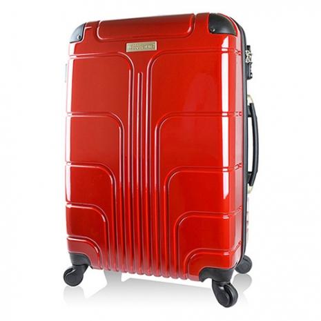 【Luggagezone】時尚流線24吋PC鏡面防水拉鍊海關鎖行李箱/旅行箱