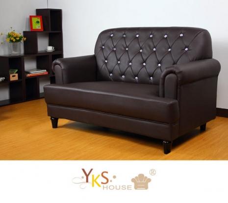 【YKS】復古典藏雙人座獨立筒皮沙發(三色可選)淺咖啡