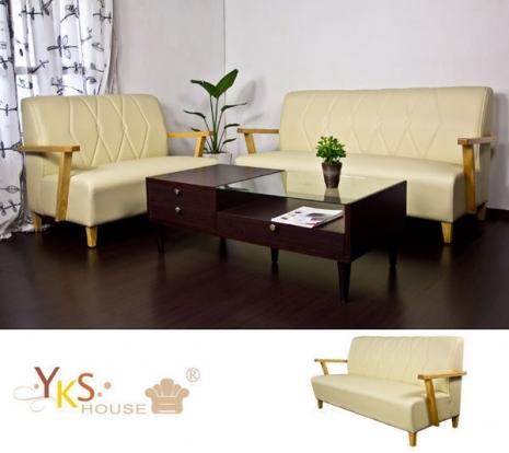 【YKS】岩手木作三人座皮沙發椅組