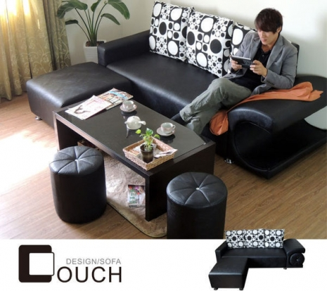 【COUCH】爵士藍調普普風L型皮沙發