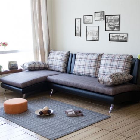【COUCH】Pack。派克L型布沙發(2色)亞麻布-深咖啡