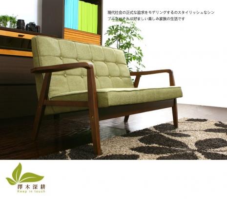 【擇木深耕】森川三人座布沙發(2色)淺綠色
