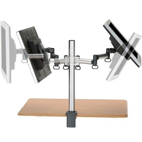 FOGIM 夾桌懸臂式液晶螢幕支架(雙螢幕)-終身保固-TKLA6032-SM