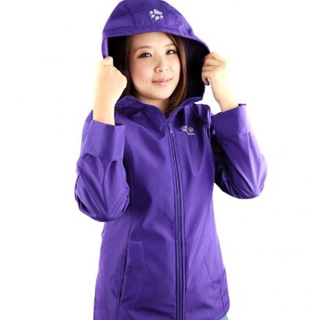 【JackWolfskin飛狼】女款防風防潑水軟殼外套(紫色)