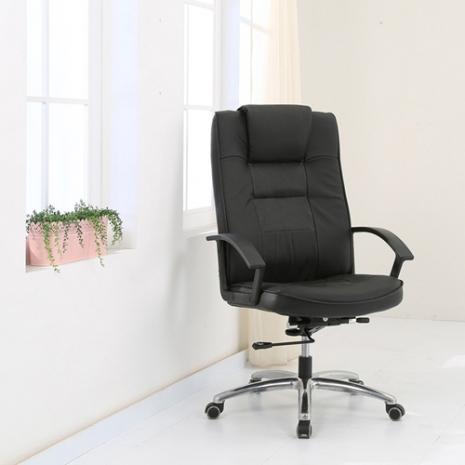 《BuyJM》亞克牛皮鋁合金腳PU輪高背主管椅/辦公椅