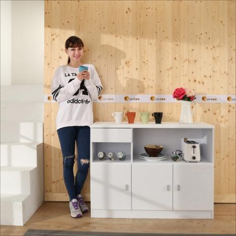 《百嘉美》鏡面防潑水三門一抽廚房櫃/餐櫃/收納櫃