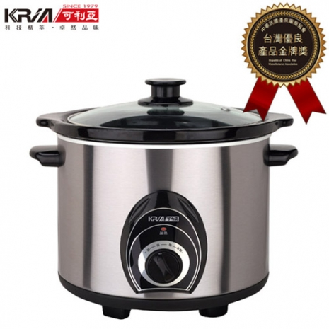 【KRIA可利亞】4L不銹鋼黑瓷養生燉鍋/調理鍋/電燉鍋/電火鍋KR-40Z