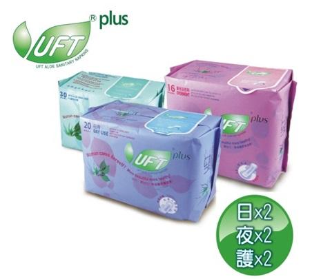 [芫茂UFT]蘆薈草本精華衛生棉超值6件組-(日x2+夜x2+護x2)