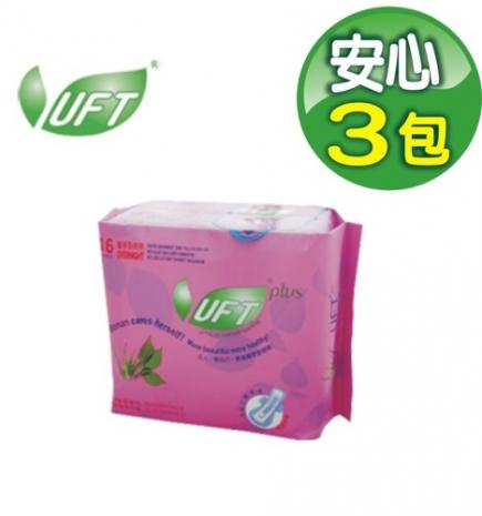 UFT蘆薈草本精華 衛生棉-安心夜用型3包